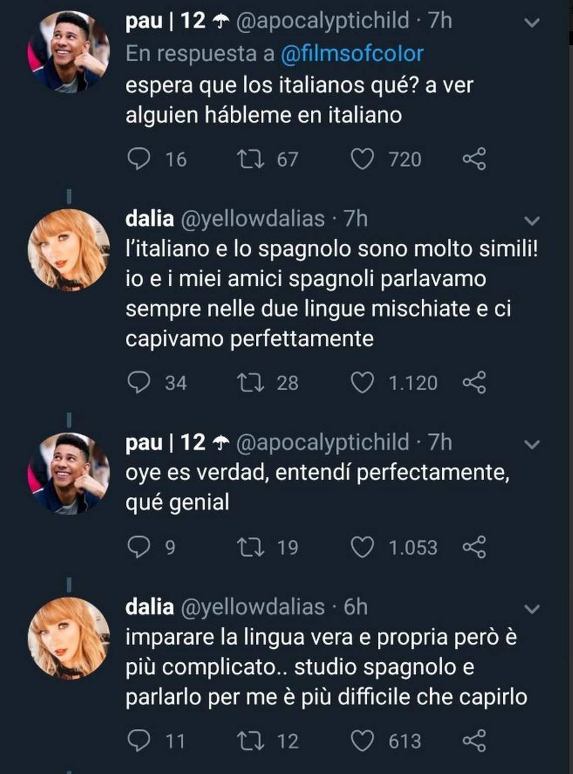 conversación simultánea en italiano, español y portugués. Idiomas más fáciles de aprender para hispanihablantes